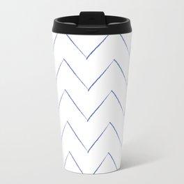 Blue Waves Crayon Chevron Stripes Travel Mug