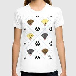 3 Lab Colors Paw Print Pattern T-shirt