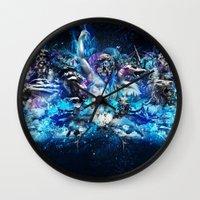 mythology Wall Clocks featuring Mythology by theycallmeteddy