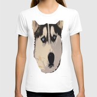 duvet cover T-shirts featuring DOG DUVET COVER by aztosaha