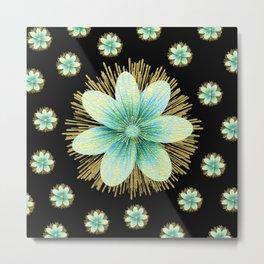Gold Blue Black Flowers Floral Pattern Metal Print