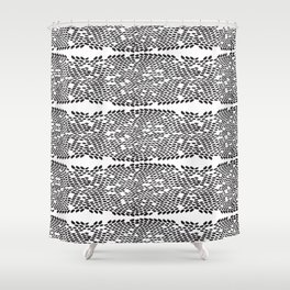Snake skin scales texture. Seamless pattern black on white background. simple ornament Shower Curtain
