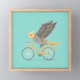 Cockatiel on a Bicycle Framed Mini Art Print