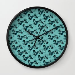 Dark blue balls, ribbons and strings Wall Clock