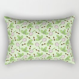 Doodle bees and clovers pattern on a green background Rectangular Pillow