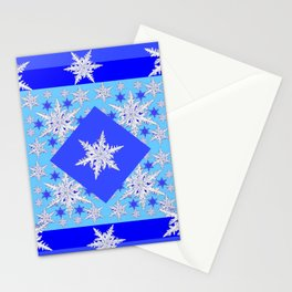 DECORATIVE BABY BLUE SNOW CRYSTALS BLUE WINTER ART Stationery Cards