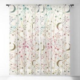 Sun Moon Stars White Galaxy Sheer Curtain