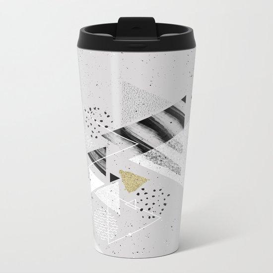 Geometric abstract triangles Metal Travel Mug