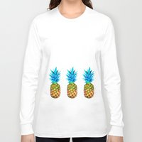 pineapples Long Sleeve T-shirts featuring Many pineapples by Yilan