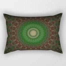 Mandala in dark red and green colors Rectangular Pillow