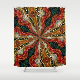 Red, Green And Gold Swirl Pattern Shower Curtain