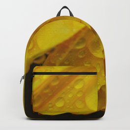 Yellow Marigold Flower Petals and Raindrops Backpack