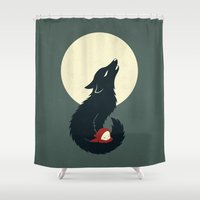 red riding hood Shower Curtains featuring Little Red Riding Hood by Freeminds