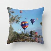 hot air balloon Throw Pillows featuring Hot air balloon scene by Bruce Stanfield
