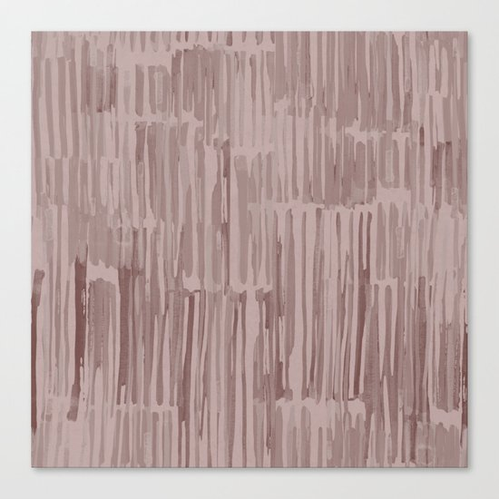 Simply Bamboo Brushstroke Red Earth on Clay Pink Canvas Print