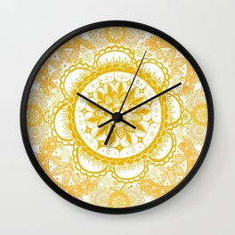 Orange Kaleidoscope Patterned Mandala Wall Clock