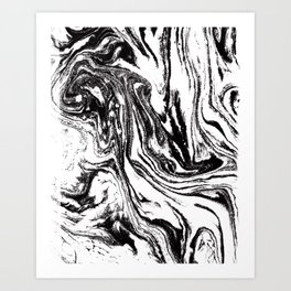 black and white marble watercolor painting canvas art decor Art Print
