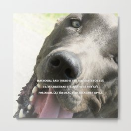 Machogirl Dog Eve Adam Apple Speech Just Word Metal Print