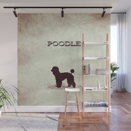 Retro Poodle Distressed Paper Wall Mural