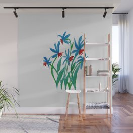 Hand painted watercolor floral blue and red flowers Wall Mural