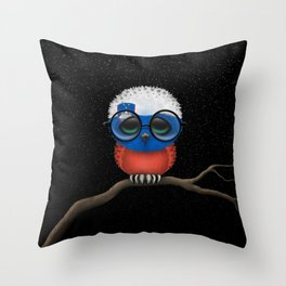 Baby Owl with Glasses and Slovenian Flag Throw Pillow