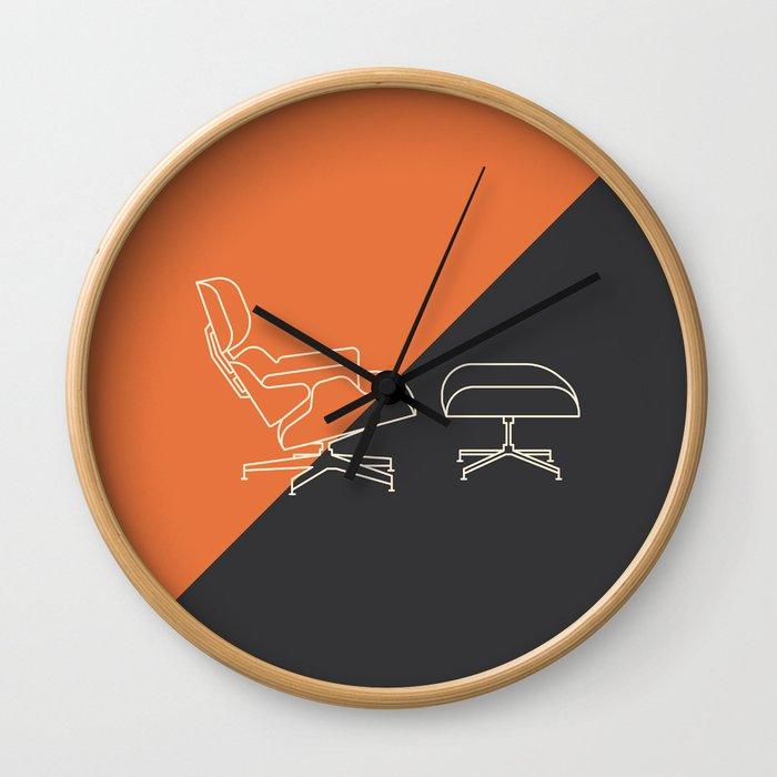 Eames Lounge // Mid Century Modern Minimalist Illustration Wall Clock