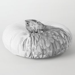 Chicken - Black & White Floor Pillow