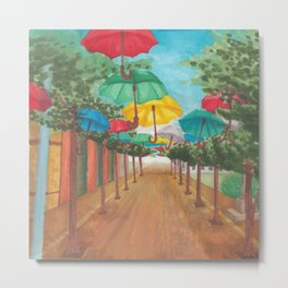 Umbrella Street Metal Print
