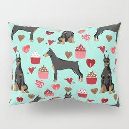 Doberman Pinscher love valentines day hearts cupcakes pattern dog breeds pet portraits Pillow Sham