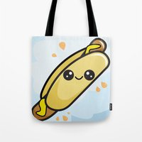 hot dog Tote Bags featuring Hot Dog by Aimee Liwag