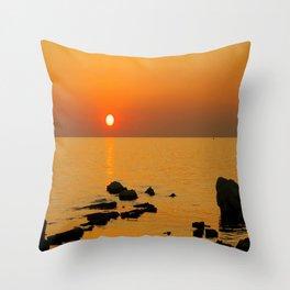 evening beach Throw Pillow
