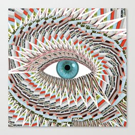 Origami Chakra Eye - Aqua Marine Blue Canvas Print