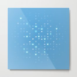 Kingdom Hearts Blue Pattern Metal Print