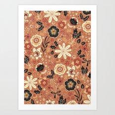 Festive Florals (Oranges) Art Print