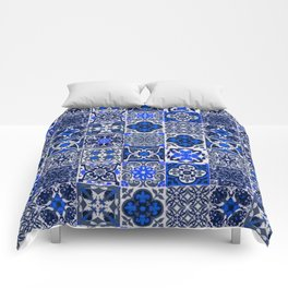 -A34- Blue Traditional Floral Moroccan Tiles. Comforters