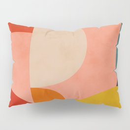 geometry shape mid century organic blush curry teal Pillow Sham