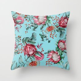 King protea flowers watercolor illustration Throw Pillow