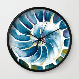 Blue Green Shell Wall Clock
