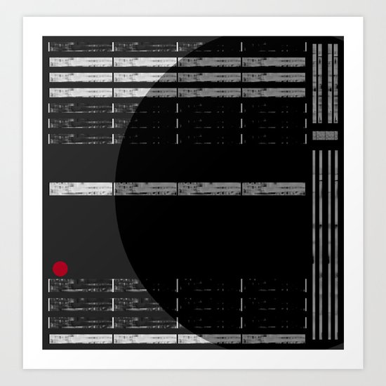 Abstract ~ Red on black & white Art Print