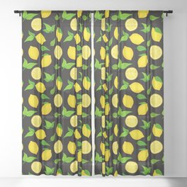 Summer Lemons Pattern - Yellow and Black Sheer Curtain
