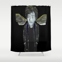 kurt rahn Shower Curtains featuring Kurt Vonnegut Jr Oil Painting by Tony King  by Tony King - Beautifully Mad
