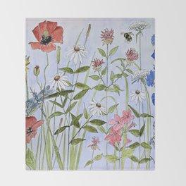 Wildflower Botanical Garden Flower Blue Skies Watercolor Throw Blanket