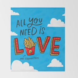 Love and French Fries Throw Blanket