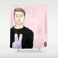michael scott Shower Curtains featuring Michael by Inga Ink Art