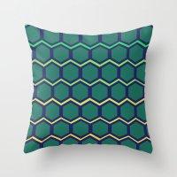 hexagon Throw Pillows featuring hexagon by vidikay
