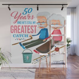 Anniversary 50 Couple Fishing Wife Husband Gift Wall Mural