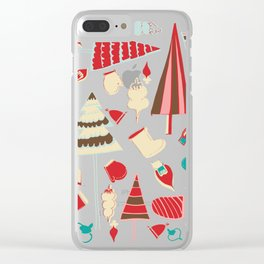 Vintage Christmas white Clear iPhone Case