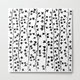 Watercolor Vines Pattern - Black & Gray Metal Print
