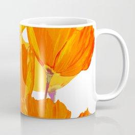 Orange and Yellow Poppies On A White Background #decor #society6 #buyart Coffee Mug