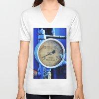 cabin pressure V-neck T-shirts featuring Under Pressure by JR van Kampen